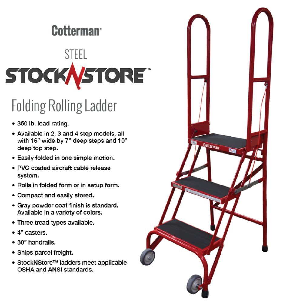 cotterman-stocknstore-red-rolling-metal-ladder-foldable-stock n store